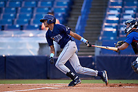 Delvin Perez (7) of Loiza, Puerto Rico playing for the Tampa Bay Rays scout team during the East Coast Pro Showcase on July 27, 2015 at George M. Steinbrenner Field in Tampa, Florida.  (Mike Janes/Four Seam Images)