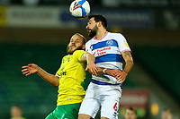 29th December 2020; Carrow Road, Norwich, Norfolk, England, English Football League Championship Football, Norwich versus Queens Park Rangers; Yoann Barbet of Queens Park Rangers wins a header against Teemu Pukki of Norwich City