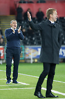 (L-R) Blackburn Rovers manager Tony Mowbray and Swansea City manager Graham Potter react on the touch line during the Sky Bet Championship match between Swansea City and Blackburn Rovers at the Liberty Stadium, Swansea, Wales, UK. Tuesday 23 October 2018