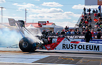Oct 4, 2020; Madison, Illinois, USA; NHRA top fuel driver T.J. Zizzo during the Midwest Nationals at World Wide Technology Raceway. Mandatory Credit: Mark J. Rebilas-USA TODAY Sports