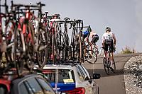 riders zig-zagging up the finish climb & the highest peak of the 2020 #TdF: the Col de la Loze (HC/2304m/21,5km @7,8%)<br /> <br /> Stage 17 from Grenoble to Méribel - Col de la Loze (170km)<br /> <br /> 107th Tour de France 2020 (2.UWT)<br /> (the 'postponed edition' held in september)<br /> <br /> ©kramon