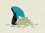 Illustrative image of businessman's head stuck in pile of money representing debt