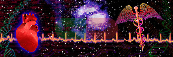 metaphoric composite photo illustration panorama with icons of health including heart and heart beat monitor, caduceus and DNA modeling