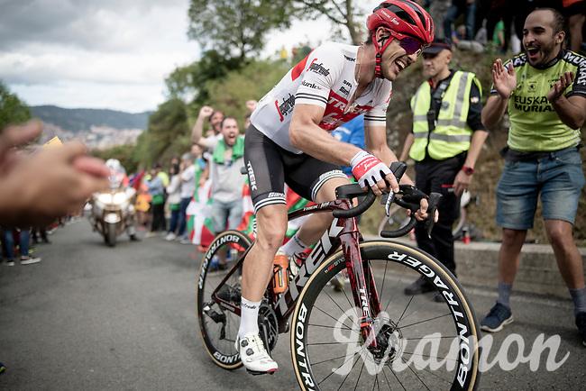John Degenkolb (DEU/Trek-Segafredo) smiling up the brutal (last climb) Alto de Arraiz (up to 25% gradients!), 7km from the finish <br /> <br /> Stage 12: Circuito de Navarra to Bilbao (171km)<br /> La Vuelta 2019<br /> <br /> ©kramon