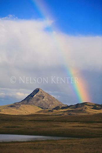 A rainbow and Haystack Butte on the East Front of the Rocky Mountains near Augusta, Montana