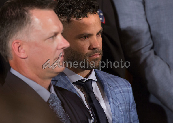 Jose Carlos Altuve, Houston Astros' second baseman participates in the welcoming ceremony of Baseball's 2017 World Series Campions, the Houston Astros to The White House in Washington, DC, March 12, 2018. Photo Credit: Chris Kleponis/CNP/AdMedia