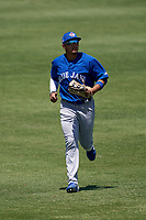 Toronto Blue Jays outfielder Gabriel Martinez (68) jogs to the dugout during a Minor League Spring Training game against the Detroit Tigers on April 22, 2021 at Tigertown in Lakeland, Florida.  (Mike Janes/Four Seam Images)