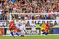 PHILADELPHIA, PA - AUGUST 29: Samantha Mewis #3 of the United States takes a free kick during a game between Portugal and USWNT at Lincoln Financial Field on August 29, 2019 in Philadelphia, PA.
