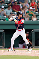 Right fielder Wil Dalton (26) of the Greenville Drive in a game against the Aberdeen IronBirds on Sunday, July 11, 2021, at Fluor Field at the West End in Greenville, South Carolina. (Tom Priddy/Four Seam Images)