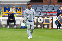 25th September 2021; Dens Park, Dundee, Scotland: Scottish Premiership football, Dundee versus Rangers; Alfredo Morelos of Rangers inspects the pitch before the match