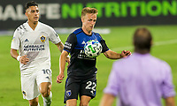 CARSON, CA - OCTOBER 14: Tommy Thompson #22 of the San Jose Earthquakes moves with the ball during a game between San Jose Earthquakes and Los Angeles Galaxy at Dignity Heath Sports Park on October 14, 2020 in Carson, California.