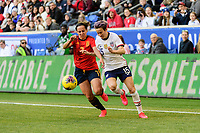 HARRISON, NJ - MARCH 08: Megan Rapinoe #15 of the United States is defended by Marta Corredera #7 of Spain during a game between Spain and USWNT at Red Bull Arena on March 08, 2020 in Harrison, New Jersey.
