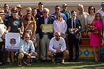 """DEL MAR, CA  AUGUST 18: #12 Fashion Business, ridden by Flavien Prat, and the connections in the winners circle after winning the Del Mar Handicap by The Japan Racing Association (Grade ll), Breeders' Cup """"Win and You're In Turf Division"""", on August 18, 2018 at Del Mar Thoroughbred Club in Del Mar, CA.(Photo by Casey Phillips/Eclipse Sportswire/Getty Images"""