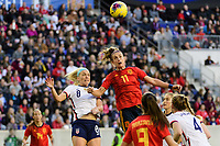 HARRISON, NJ - MARCH 08: Julie Ertz #8 of the United States goes up for a header with Alexia Putellas #11 of Spain during a game between Spain and USWNT at Red Bull Arena on March 08, 2020 in Harrison, New Jersey.