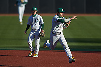Charlotte 49ers shortstop Jack Dragum (6) makes a throw to first base against the Florida Atlantic Owls at Hayes Stadium on April 2, 2021 in Charlotte, North Carolina. The 49ers defeated the Owls 9-5. (Brian Westerholt/Four Seam Images)