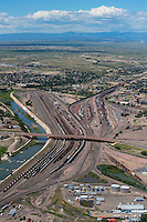 Train yard, Arkansas River, 4th Street, Pueblo, Colorado. Aug 23, 2014.  813091