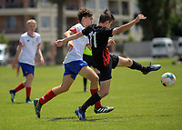 Action from the 2019 National Age Group Tournament Under-16 Boys football match between Auckland and Mainland at Memorial Park in Petone, Wellington, New Zealand on Sunday, 15 December 2019. Photo: Dave Lintott / lintottphoto.co.nz