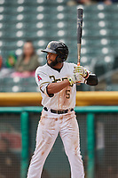 Sherman Johnson (5) of the Salt Lake Bees bats against the Albuquerque Isotopes at Smith's Ballpark on April 8, 2018 in Salt Lake City, Utah. Albuquerque defeated Salt Lake 11-4. (Stephen Smith/Four Seam Images)