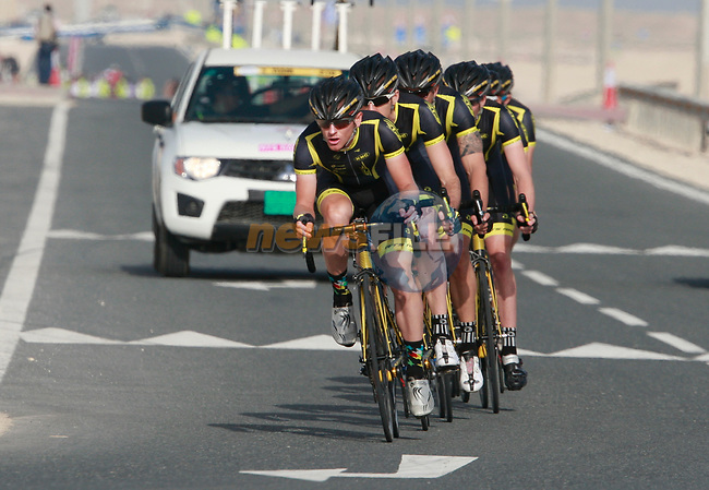 RTS Racing Team in action during the 2nd Stage of the 2012 Tour of Qatar an 11.3km team time trial at Lusail Circuit, Doha, Qatar. 6th February 2012.<br /> (Photo Eoin Clarke/Newsfile)