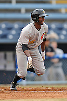 West Virginia Power left fielder Candon Myles #16 swings at a pitch during game one of a double header against the Asheville Tourists at McCormick Field on April 8, 2014 in Asheville, North Carolina. The Power defeated the Tourists 6-5. (Tony Farlow/Four Seam Images)