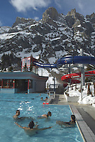 Switzerland. Canton of Wallis. Leukerbad. Leukerbad, also called Loèche-Les-Bains, is the ideal place for health-conscious guests. With its health centre like the Burgerbad, featuring Europe's largest alpine thermal bath facilities, the area beckons guests to rest and relax. Each day, some 3.9 million litres of water flow from the Leukerbad springs to various baths. An elixir of life is Valais water, where tourists and locals immerse themselves in an inexhaustible source of well-being. Italian tourists. © 2005 Didier Ruef