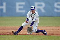 High Point Panthers first baseman Cole Singsank (16) fields a ground ball during the game against the Bryant Bulldogs at Williard Stadium on February 21, 2021 in  Winston-Salem, North Carolina. The Panthers defeated the Bulldogs 3-2. (Brian Westerholt/Four Seam Images)