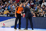 Real Madrid´s coach Pablo Laso talking with the referee during the 4th match of the Turkish Airlines Euroleague at Barclaycard Center in Madrid, Spain, November 05, 2015. <br /> (ALTERPHOTOS/BorjaB.Hojas)