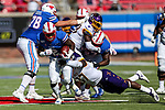 Southern Methodist Mustangs running back Ke'Mon Freeman (2) in action during the game between the East Caroline Pirates  and the SMU Mustangs at the Gerald J. Ford Stadium in Fort Worth, Texas.