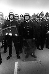 Police reinforcements, Miners Strike 1984 Gasgoine Pit Yorkshire . They are waiting for the so called Scabs - working Miners, to arrive by coach and be bused into work, through a picket line. 1980s UK