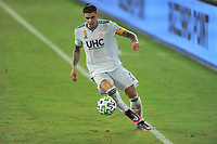 WASHINGTON, DC - SEPTEMBER 27: Gustavo Bou #7 of New England Revolution moves the ball during a game between New England Revolution and D.C. United at Audi Field on September 27, 2020 in Washington, DC.