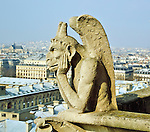 Closeup of gargoyle near the top of Notre Dame Cathedral