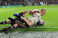 Sam Underhill of England touches down but his try disallowed after Courtney Lawes of England was offside during the Quilter International match between England and New Zealand at Twickenham Stadium on Saturday 10th November 2018 (Photo by Rob Munro/Stewart Communications)