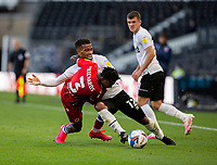 12th September 2020; Pride Park, Derby, East Midlands; English Championship Football, Derby County versus Reading; Omar Richards of Reading with the ball at his feet is tackled to the floor by Nathan Byrne of Derby County