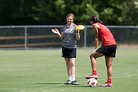 Shannon Boxx, Hege Riise. The USWNT practice at WakeMed Soccer Park in preparation for their game with Japan.