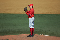 Radford Highlanders starting pitcher Danny Hrbek (7) looks to his catcher for the sign against the Quinnipiac Bobcats at David F. Couch Ballpark on March 4, 2017 in Winston-Salem, North Carolina. The Highlanders defeated the Bobcats 4-0. (Brian Westerholt/Four Seam Images)