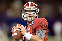 AJ McCarron of Alabama warms up before BCS National Championship game against LSU at Mercedes-Benz Superdome in New Orleans, Louisiana on January 9th, 2012.   Alabama defeated LSU, 21-0.