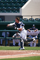 Detroit Tigers catcher Dillon Dingler (9) throws down to second base during a Minor League Spring Training game against the Baltimore Orioles on April 14, 2021 at Joker Marchant Stadium in Lakeland, Florida.  (Mike Janes/Four Seam Images)