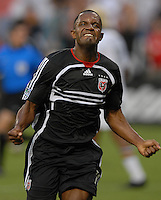 DC United forward Luciano Emilio (11) celebrates his goal in the minute 27th of play. DC United defeated the Los Angeles Galaxy 1-0, at RFK Stadium Washington DC, Thursday August 9, 2007.