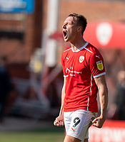 24th April 2021, Oakwell Stadium, Barnsley, Yorkshire, England; English Football League Championship Football, Barnsley FC versus Rotherham United; Cauley Woodrow of Barnsley final whistle joy as his team remain in the play off positions