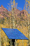 Solar panel and solar energy in the mountains near Aspen, Colorado. .  John leads private photo tours in Boulder and throughout Colorado. Year-round Colorado photo tours.