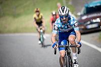 Polka Dot Jersey / KOM leader Julian Alaphilippe (FRA/Deceuninck - Quick-Step)<br /> <br /> Stage 8: Cluses (FRA) to Champéry (SUI)(113km)<br /> 71st Critérium du Dauphiné 2019 (2.UWT)<br /> <br /> ©kramon