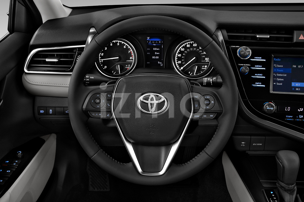 Car pictures of steering wheel view of a 2019 Toyota Camry Hybrid SE 4 Door Sedan
