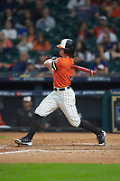 Jaxxon Grisham (3) of the Sam Houston State Bearkats follows through on his swing against the Mississippi State Bulldogs during game eight of the 2018 Shriners Hospitals for Children College Classic at Minute Maid Park on March 3, 2018 in Houston, Texas. The Bulldogs defeated the Bearkats 4-1.  (Brian Westerholt/Four Seam Images)