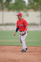 Boston Red Sox second baseman Santiago Espinal (10) during a minor league Spring Training intrasquad game on March 31, 2017 at JetBlue Park in Fort Myers, Florida. (Mike Janes/Four Seam Images)