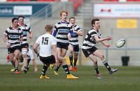 MCB vs Wallace High School | Thursday 5th March 2015<br /> <br /> Neil Kilpatrick on the attack during the 2015 Ulster Schools Cup Semi-Final between Methody and Wallace High School at the Kingspan Stadium, Ravenhill Park, Belfast, Northern Ireland.<br /> <br /> Picture credit: John Dickson / DICKSONDIGITAL