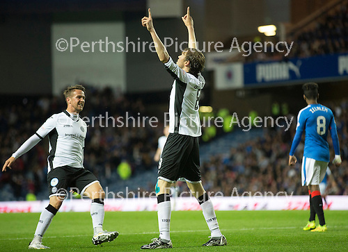 Rangers v St Johnstone...22.09.15  Scottish League Cup Round 3, Ibrox Stadium<br /> Murray Davidson celebrates his goal<br /> Picture by Graeme Hart.<br /> Copyright Perthshire Picture Agency<br /> Tel: 01738 623350  Mobile: 07990 594431