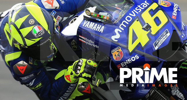 Valentino Rossi (46) of the Movistar Yamaha MotoGP race team during the GoPro British MotoGP at Silverstone Circuit, Towcester, England on 24 August 2018. Photo by Chris Brown / PRiME Media Images