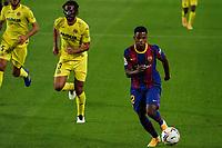 27th September 2020; Camp Nou, Barcelona, Catalonia, Spain; La Liga Football, Barcelona versus Villareal;  Ousmane Dembele outpaces the Villareal defenders