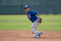 Chicago Cubs second baseman Jhonny Bethencourt (12) prepares to make a throw to first base during a Minor League Spring Training game against the Oakland Athletics at Sloan Park on March 13, 2018 in Mesa, Arizona. (Zachary Lucy/Four Seam Images)
