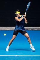 14th February 2021, Melbourne, Victoria, Australia; Garbine Muguruza of Spain returns the ball during round 4 of the 2021 Australian Open on February 14 2020, at Melbourne Park in Melbourne, Australia.